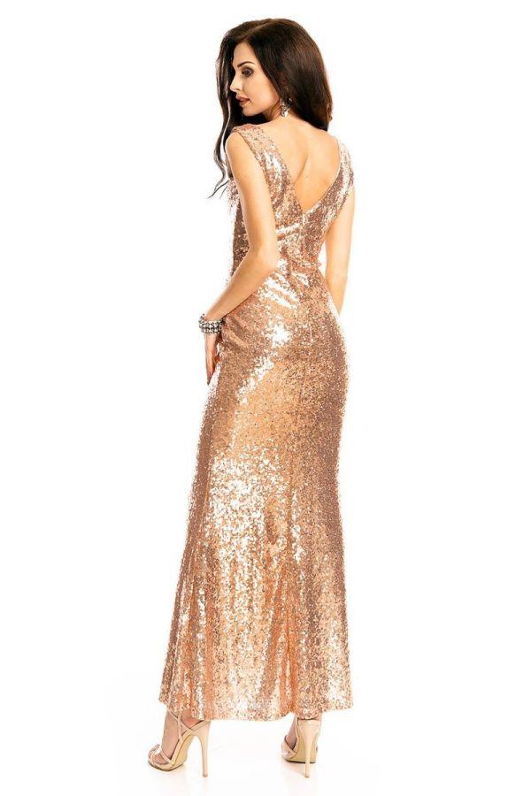 Φόρεμα Μάξι Βραδινό Παγιέτες Μπρονζέ UHS72380