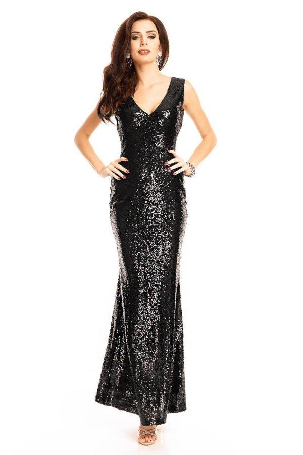 Φόρεμα Μάξι Βραδινό Παγιέτες Μαύρο UHS72380