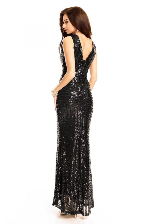 Φόρεμα Μάξι Βραδινό Παγιέτες Μαύρο UHS72390