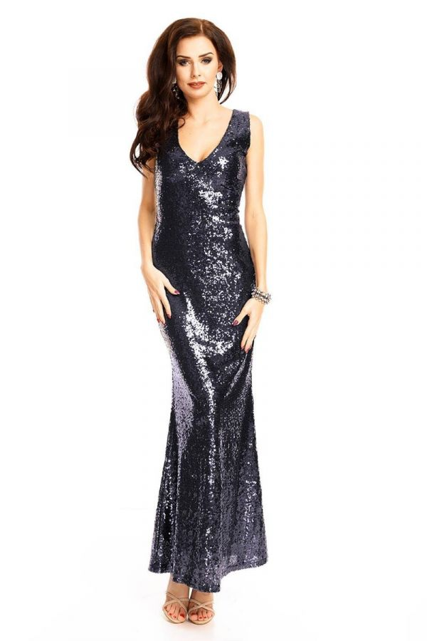 Φόρεμα Μάξι Βραδινό Παγιέτες Μπλε UHS72380