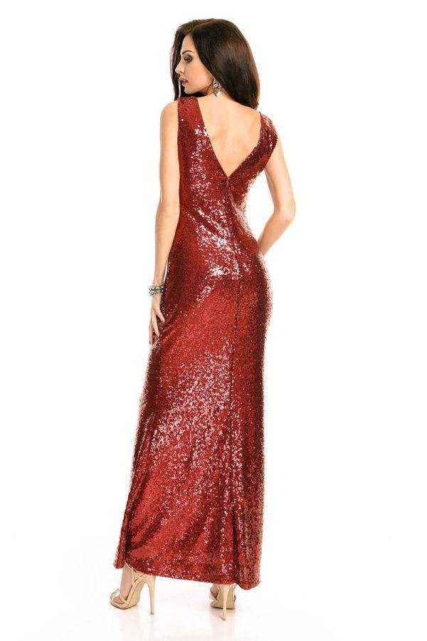 Φόρεμα Μάξι Βραδινό Παγιέτες Μπορντό UHS72380