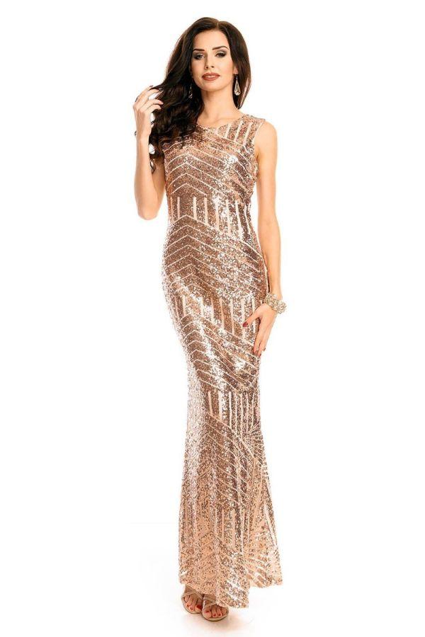Φόρεμα Μάξι Βραδινό Παγιέτες Μπρονζέ UHS72390