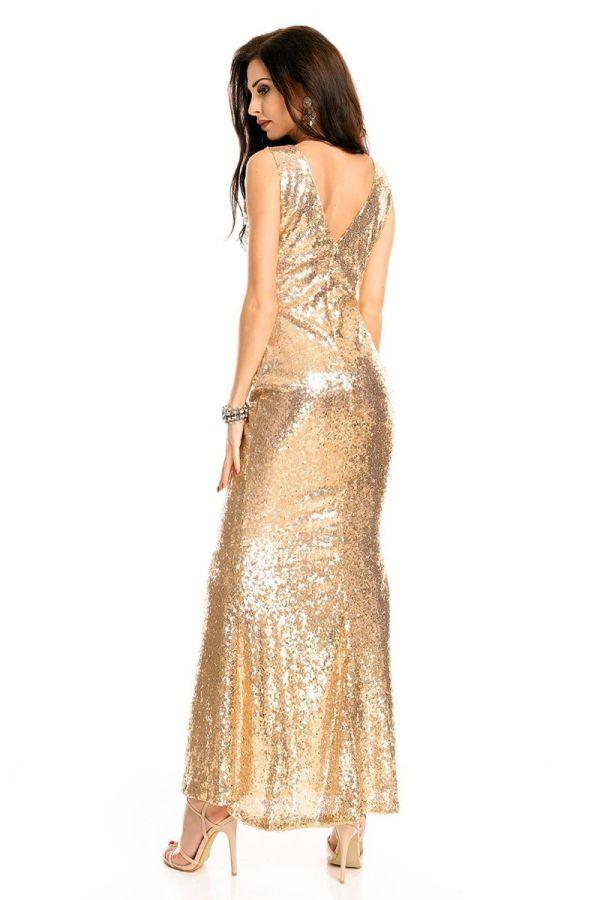 Φόρεμα Μάξι Βραδινό Παγιέτες Χρυσό UHS72380