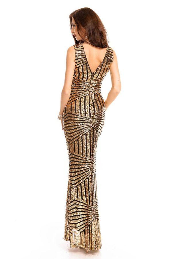 Φόρεμα Μάξι Βραδινό Παγιέτες Χρυσό UHS72390