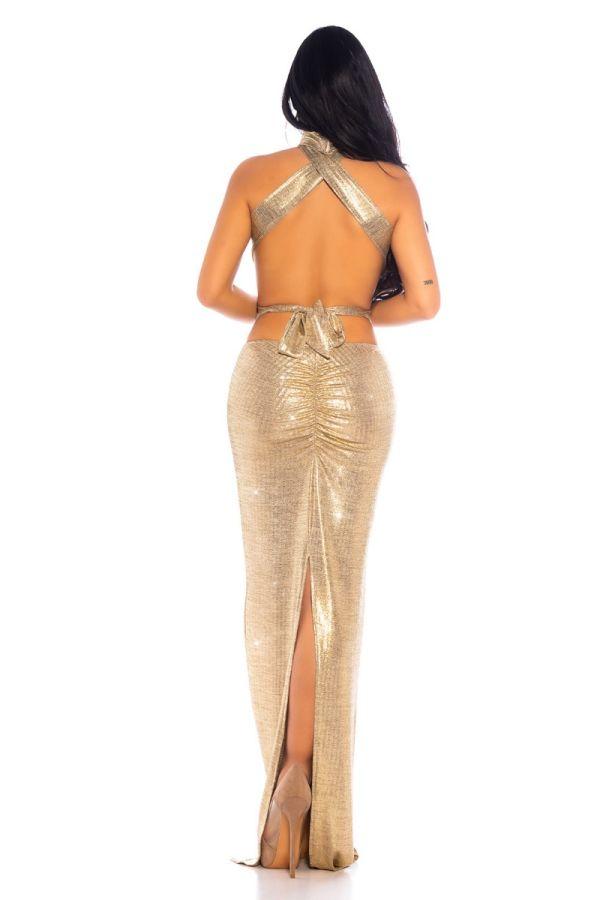 Φόρεμα Μάξι Βραδινό Σέξι Χρυσό ISDK2030521