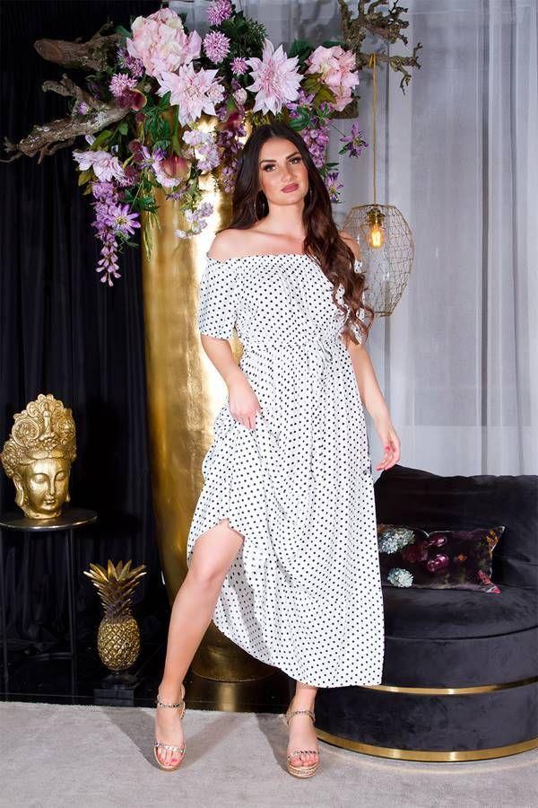 dress long off shouders polka dot white.