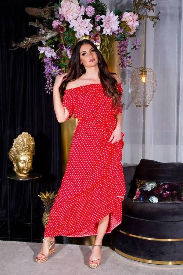 dress long off shouders polka dot red.