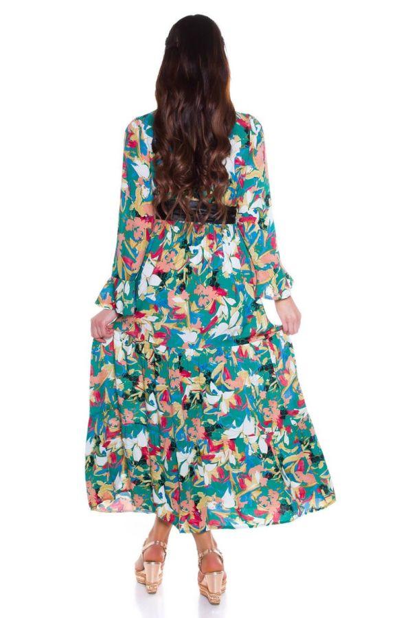 φόρεμα μακρύ floral πολύχρωμο πράσινο.