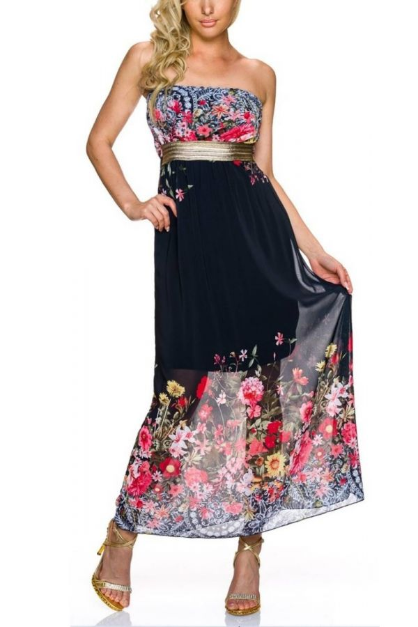 Dress Long Strapless Colorful Floral Black TQ1924156