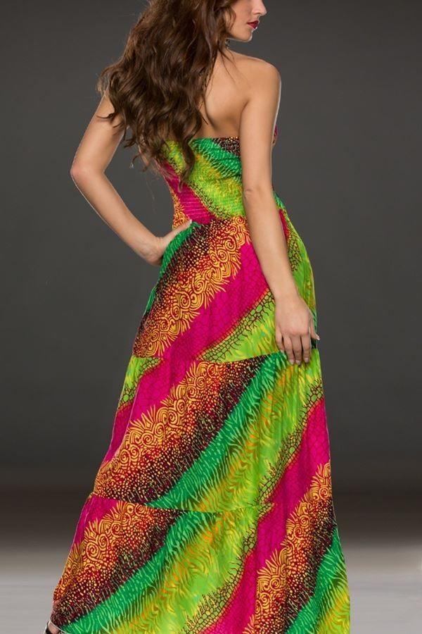 dress long multicolour green.
