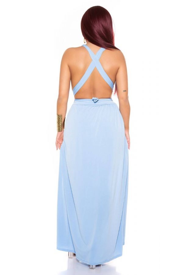 dress long sexy slits crossed back baby blue.