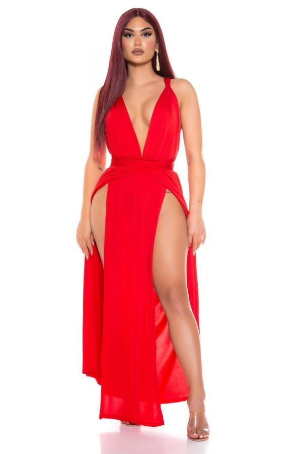 dress long sexy slits crossed back red.