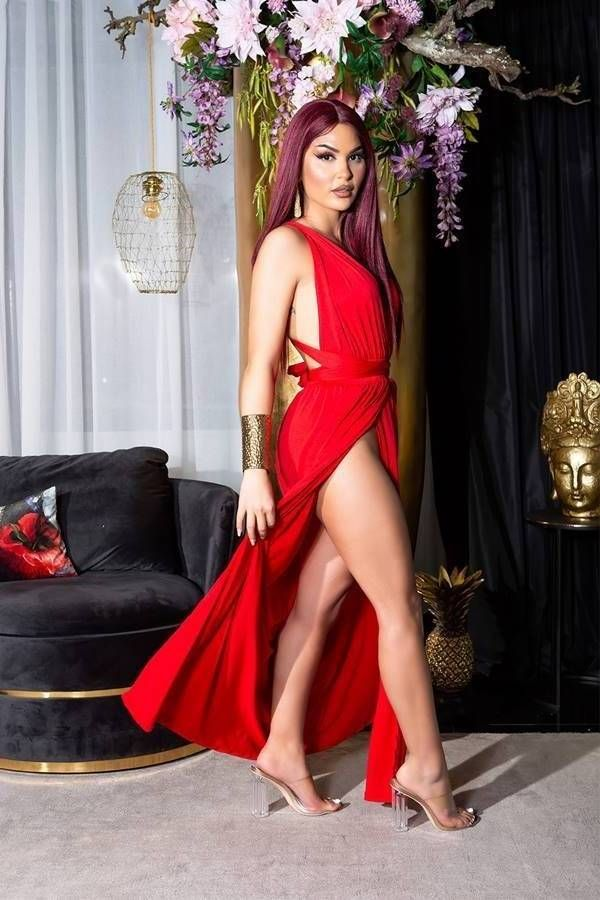 DRESS LONG SEXY SLITS CROSSED BACK RED ISDK21641