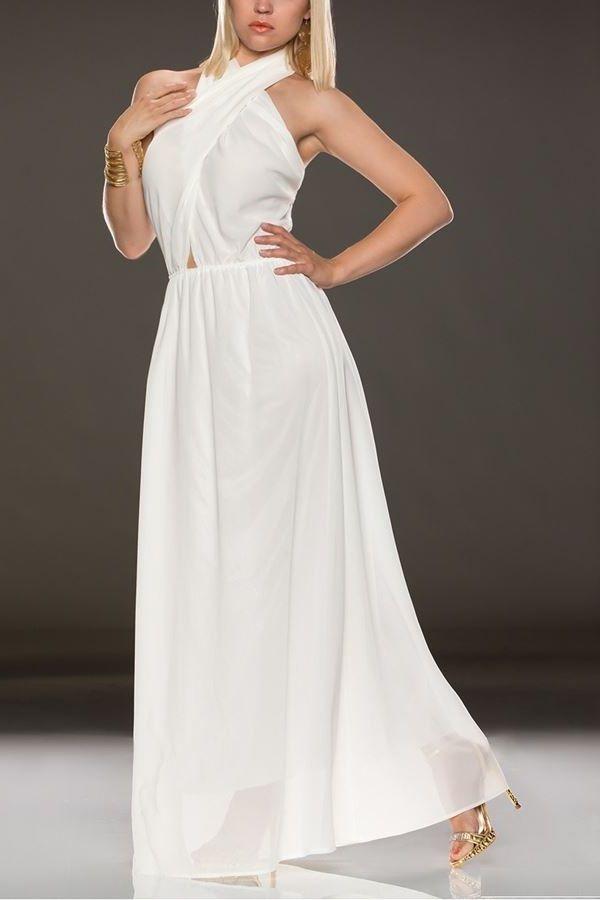 φόρεμα μακρύ χιαστί άσπρο.