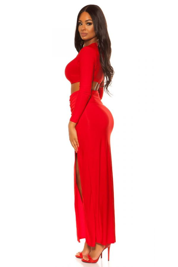 DRESS MAXI SEXY SLIT CUTOUTS RED ISDD20135