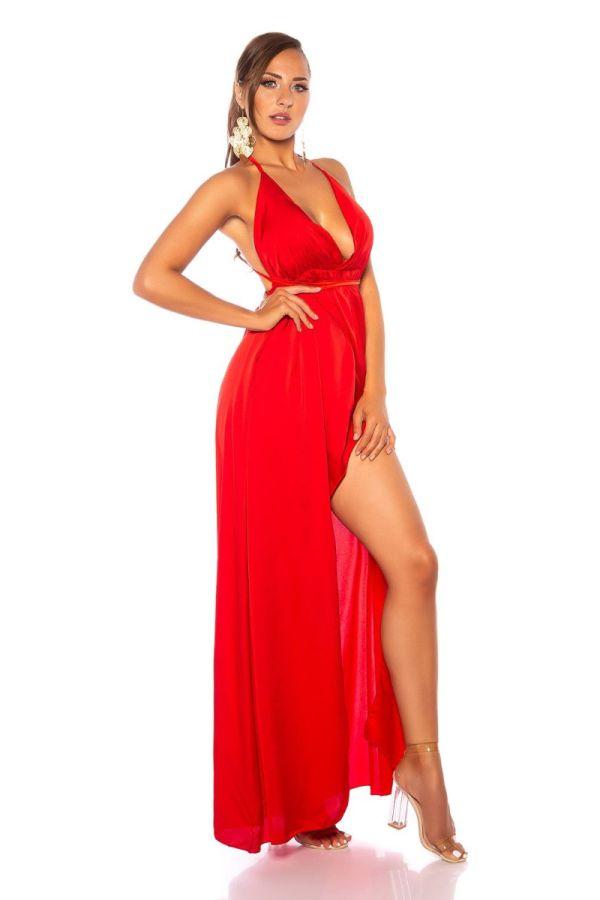 φόρεμα μακρύ αέρινο σέξι κόκκινο.