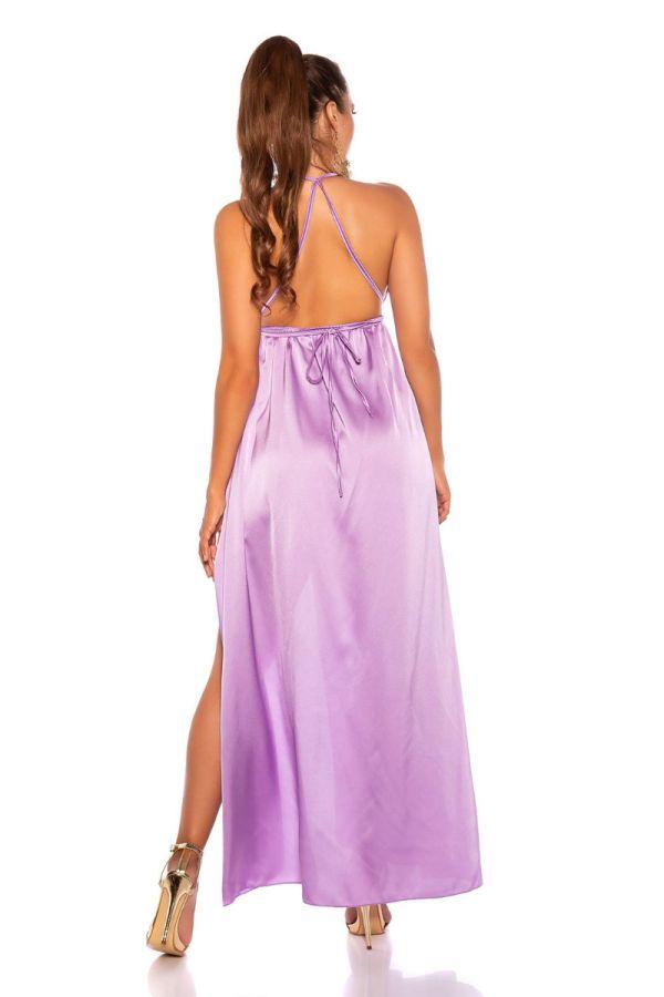 φόρεμα μακρύ αέρινο σέξι λιλά.