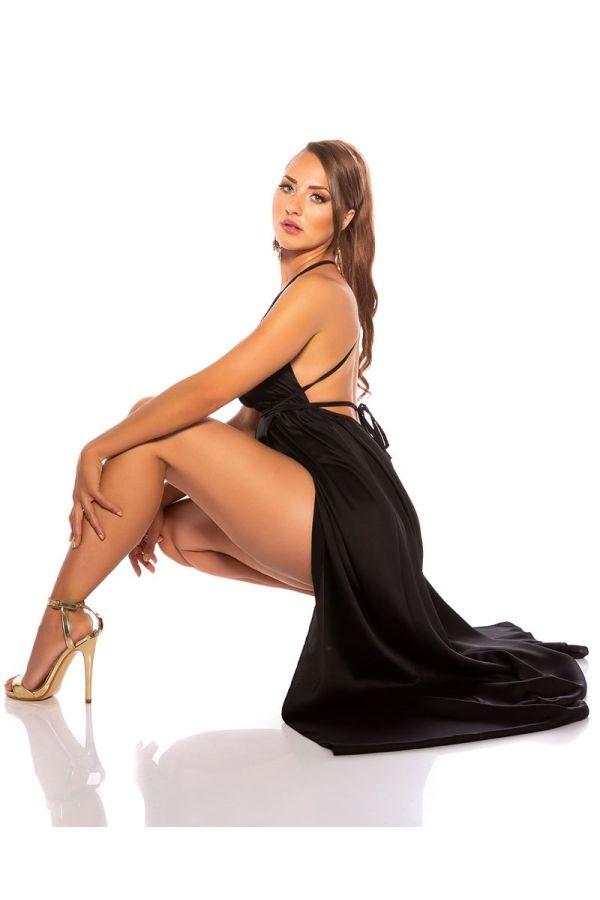 φόρεμα μακρύ αέρινο σέξι μαύρο.