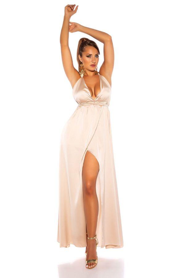 φόρεμα μακρύ αέρινο σέξι μπεζ.