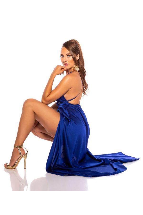 φόρεμα μακρύ αέρινο σέξι μπλε.