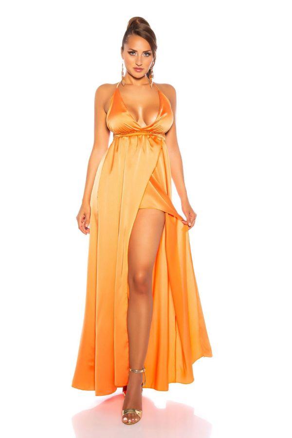 φόρεμα μακρύ αέρινο σέξι πορτοκαλί.
