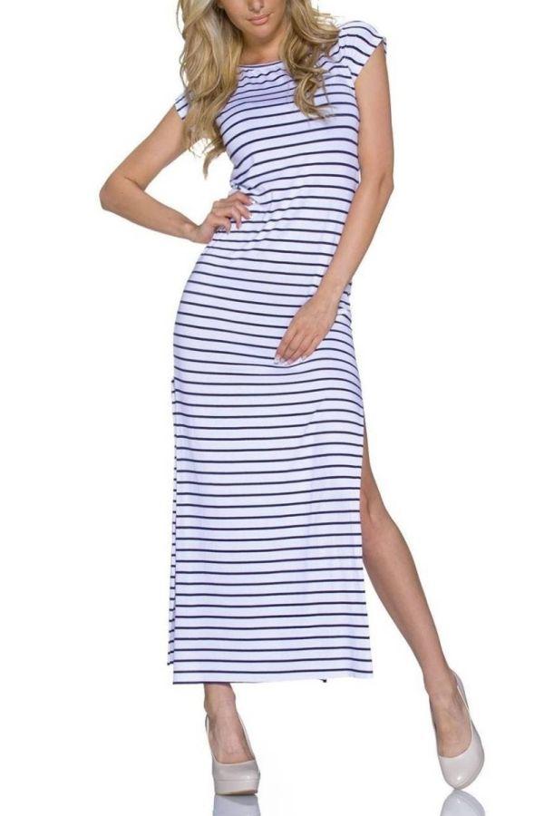 Φόρεμα Μακρύ Σκίσιμο Ριγέ Άσπρο Μαύρο QQ1722005