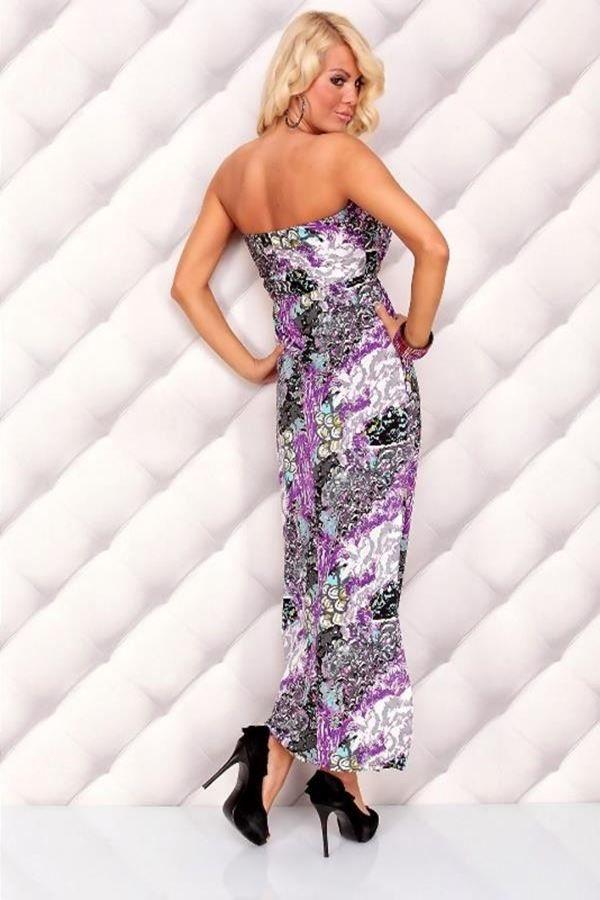 φόρεμα μακρύ μάξι στράπλες πολύχρωμο λιλά