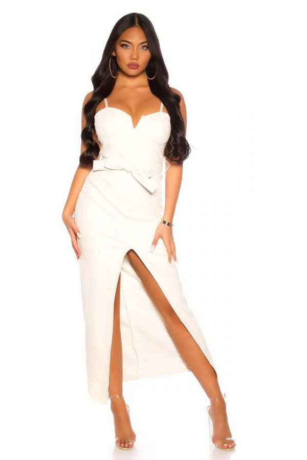 DRESS LONG SEXY LEATHERETTE CREAM ISDK96062