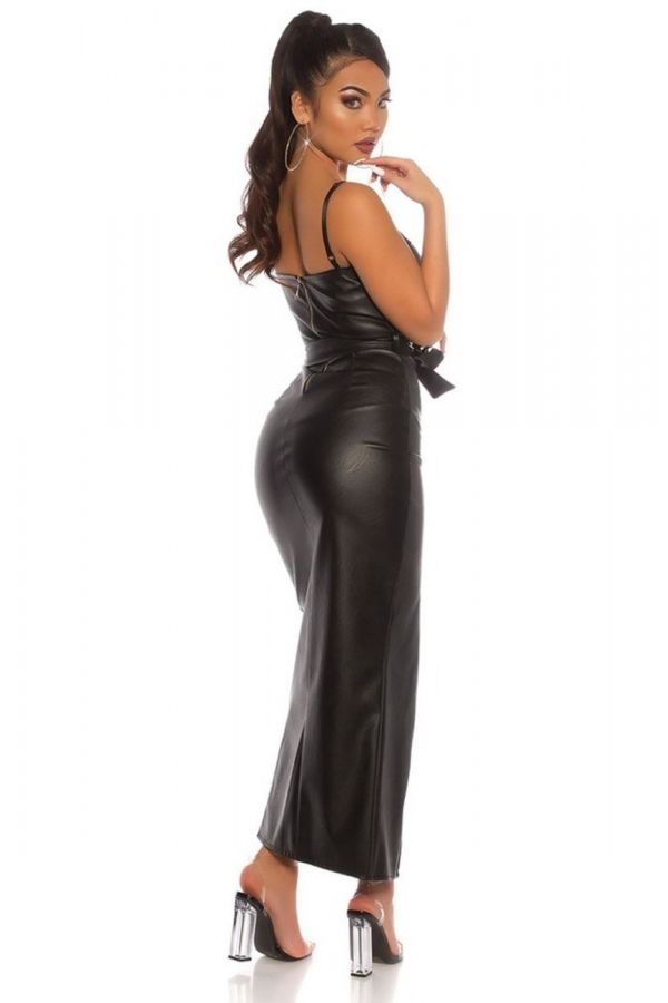 DRESS LONG SEXY LEATHERETTE BLACK ISDK96062