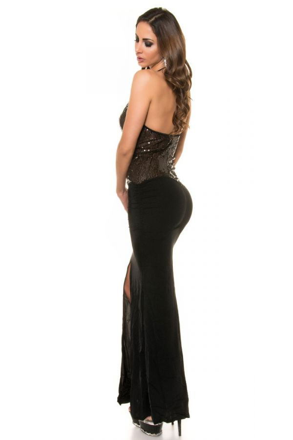 DRESS LONG TRANSPARENCY SEQUINS BLACK ISDK11177