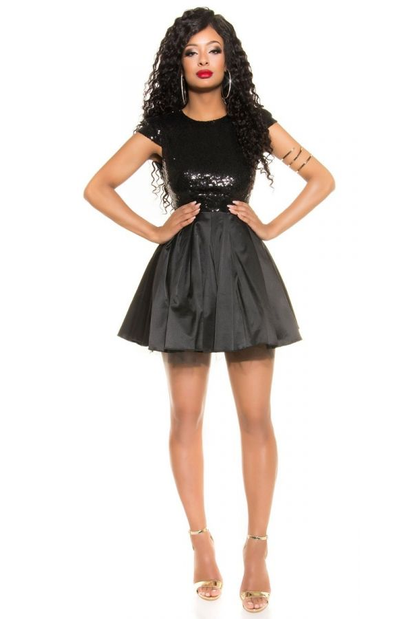 DRESS COCKTAIL SEQUINS BLACK ISDK190715
