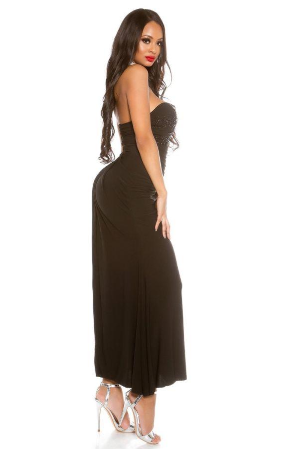 μαύρο στράπλες μακρύ μάξι φόρεμα διακοσμημένο με πέτρες