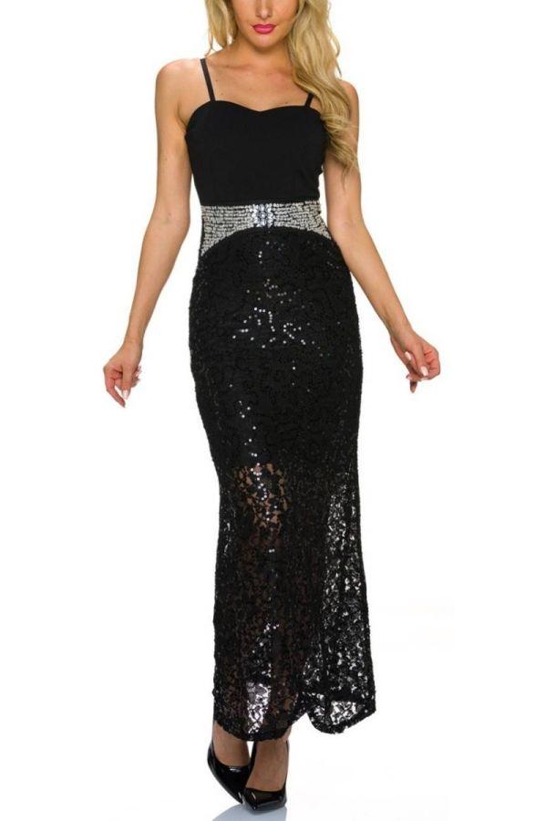 Dresss Maxi Evening Silver Stones Sequins Black TQ1923206