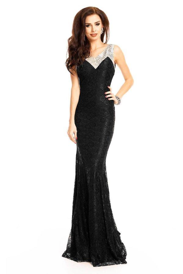 Φόρεμα Μάξι Βραδινό Πέτρες Δαντέλα Μαύρο UHS18150