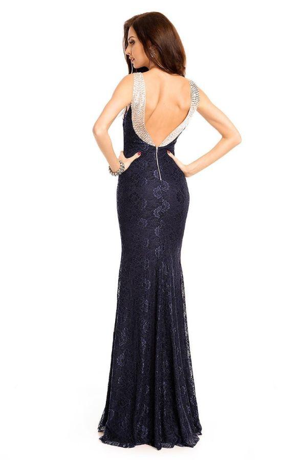 Φόρεμα Μάξι Βραδινό Πέτρες Δαντέλα Μπλε UHS18150