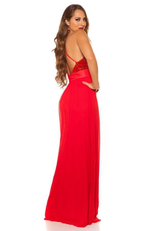 Φόρεμα Μάξι Βραδινό Τιράντες Παγιέτες Κόκκινο ISDK197541