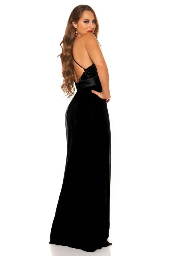 Φόρεμα Μάξι Βραδινό Τιράντες Παγιέτες Μαύρο ISDK197541