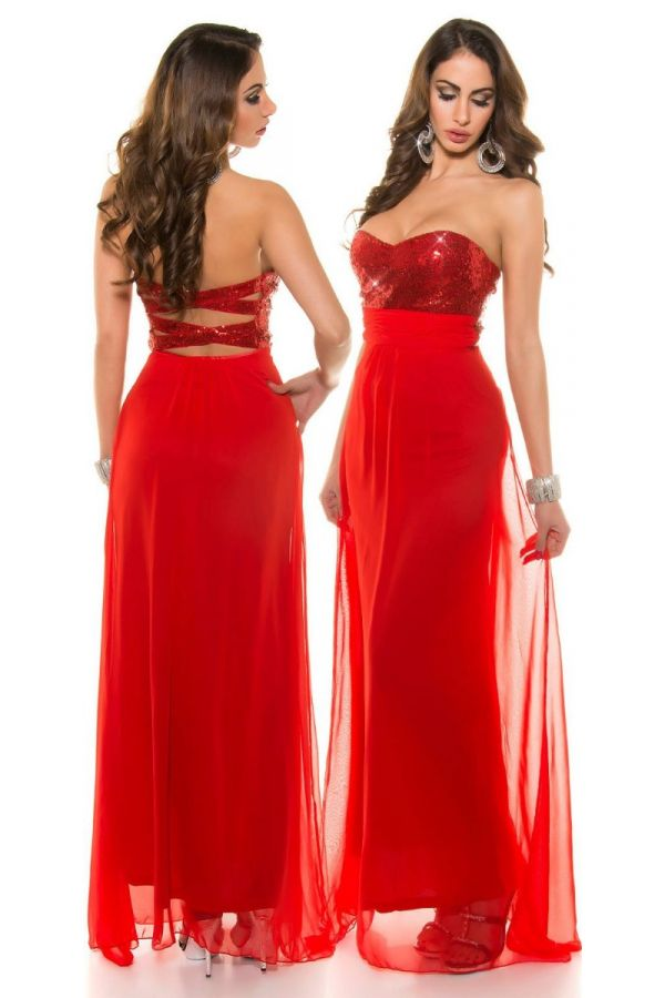Dress Maxi Evening Strapless Sequins Red ISDN505908