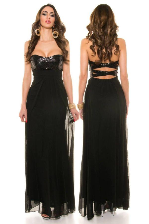 Dress Maxi Evening Strapless Sequins Black ISDN505908