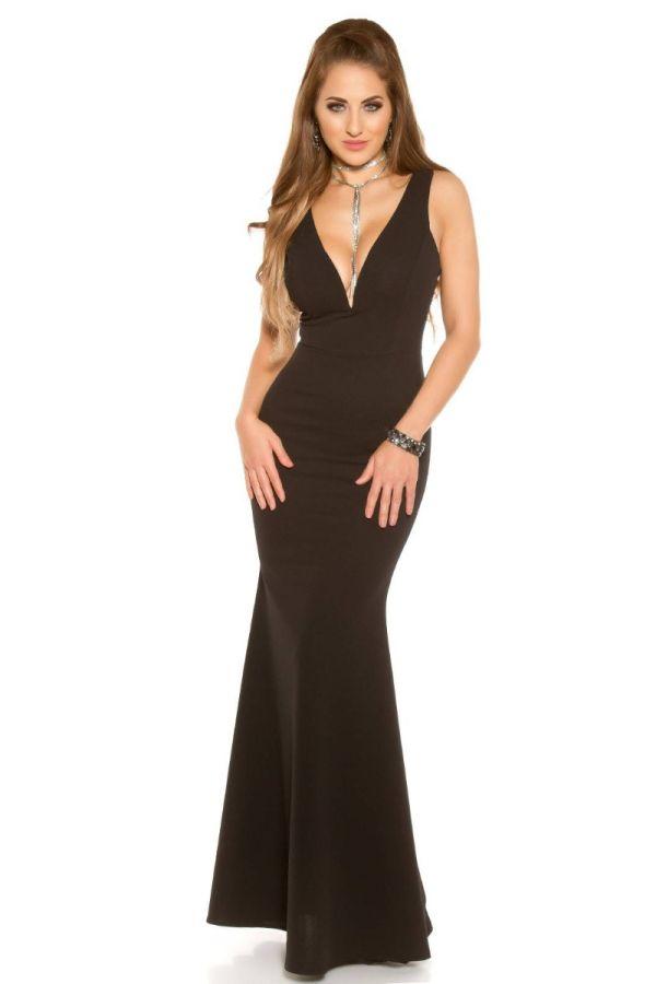 Dress Maxi Evening Sexy Decollete Black ISDV285550