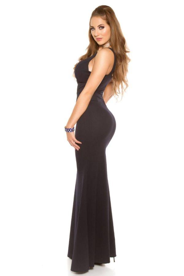 Dress Maxi Evening Sexy Decollete Blue ISDV285550