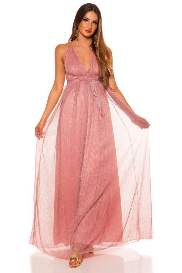 Φόρεμα Μάξι Επίσημο Αμάνικο Ροζ ISDK2009663
