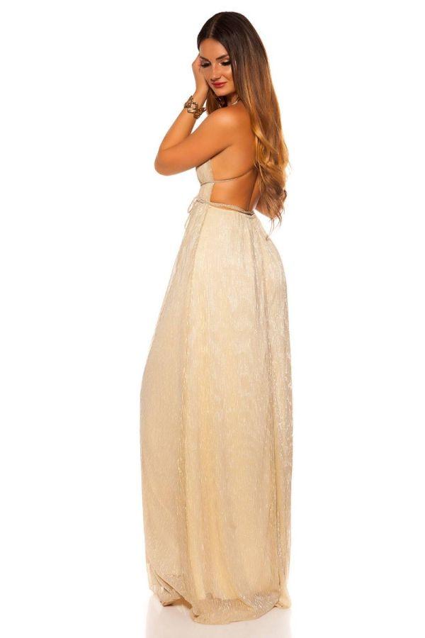 Φόρεμα Μάξι Επίσημο Αμάνικο Χρυσό ISDK2009663