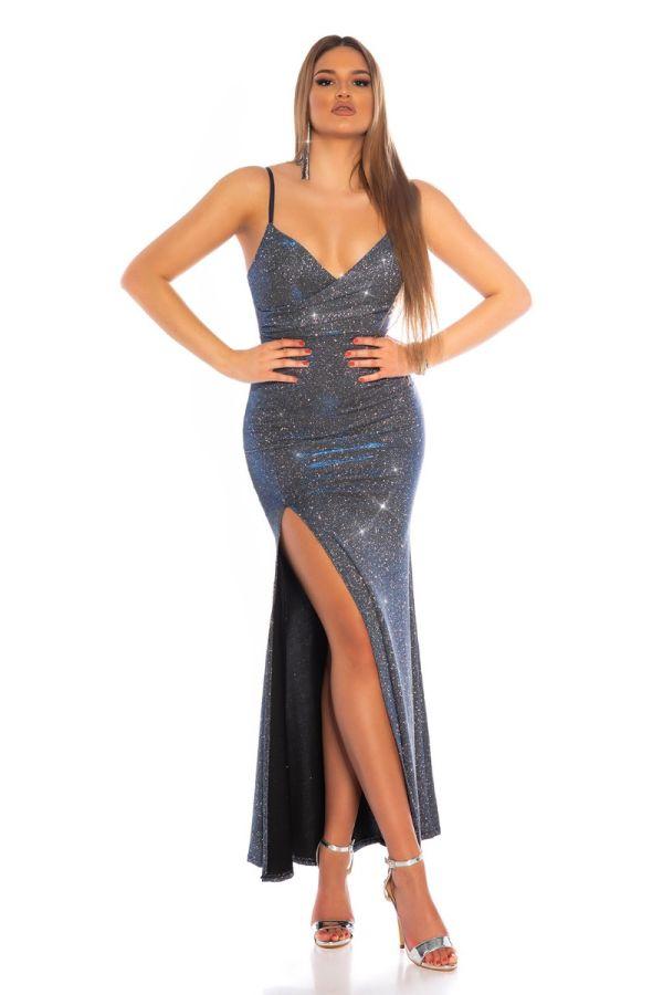 Dress Maxi Evening Sexy Sparkling Blue ISDK601145