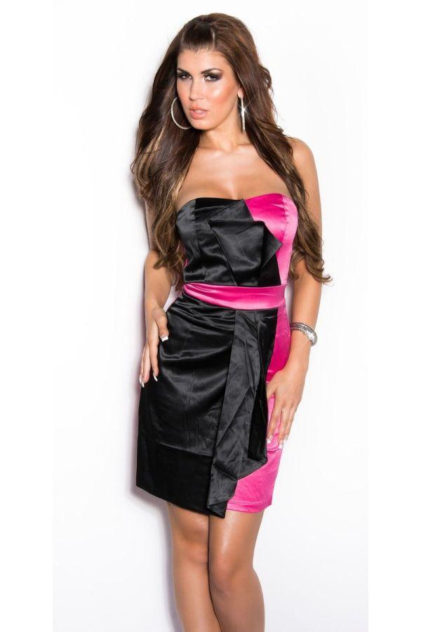 μαύρο φούξια φόρεμα κοκτέιλ στράπλες σατέν