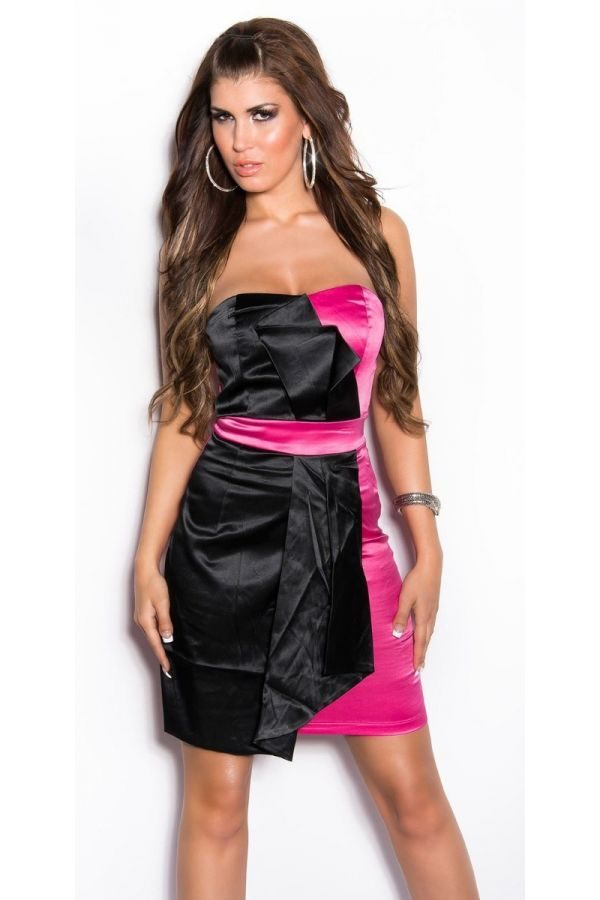 black fuchsia dress cocktail satin strapless