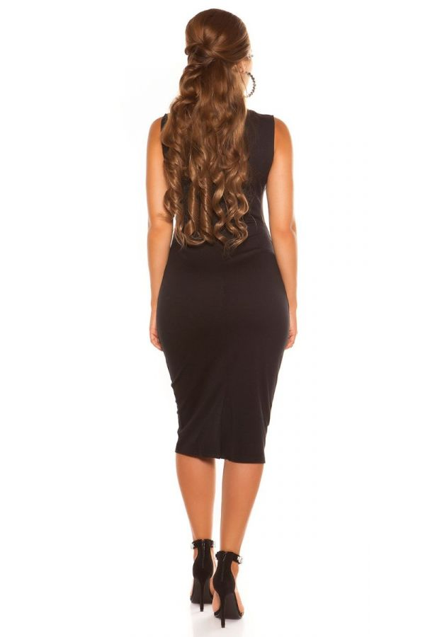 μαύρο midi φόρεμα με διαφάνεια