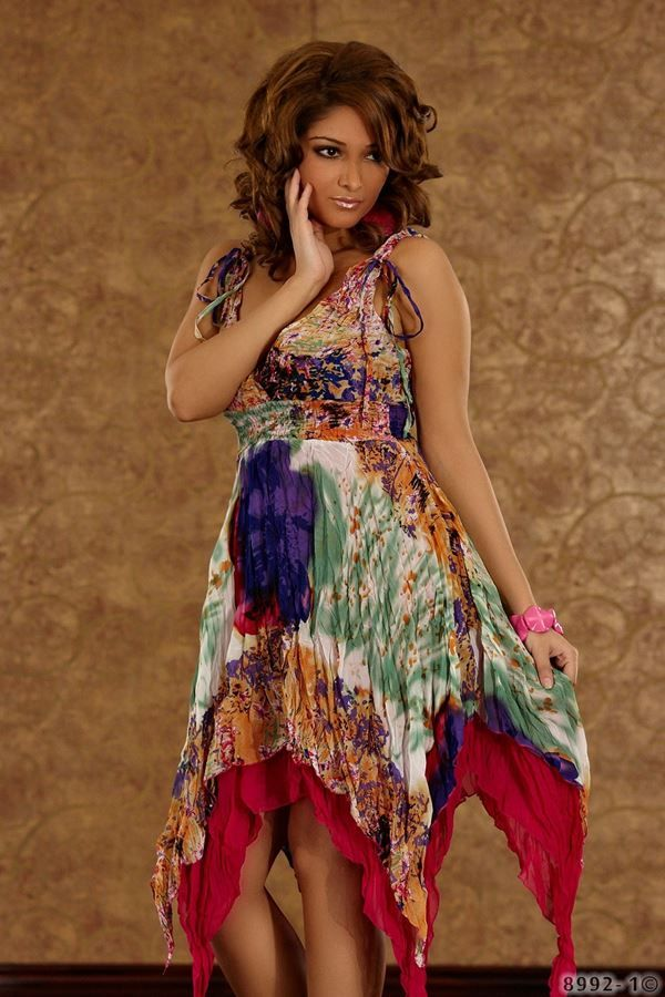 φόρεμα κοκτέιλ με μύτες φλοραλ πολύχρωμο