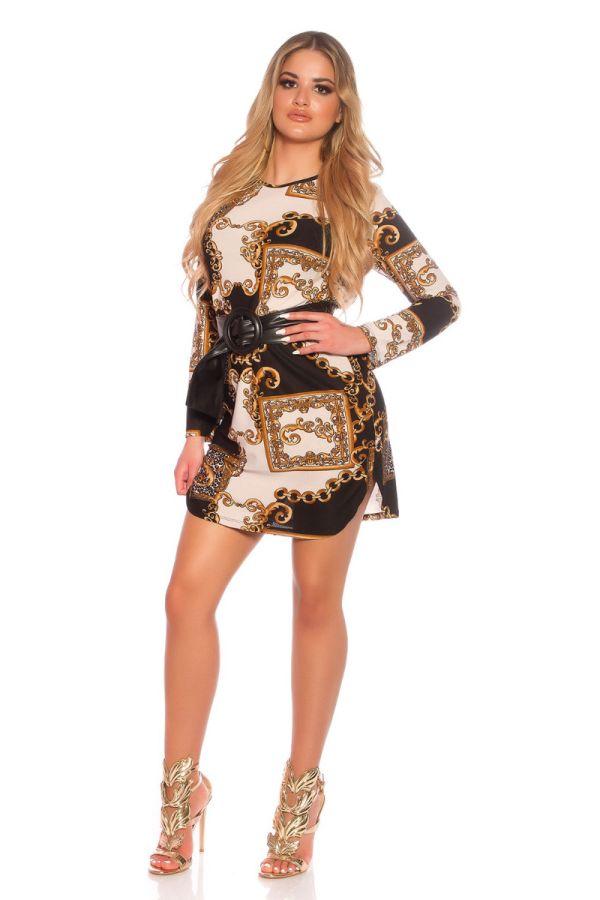 dress pattern long sleeves belt black beige.