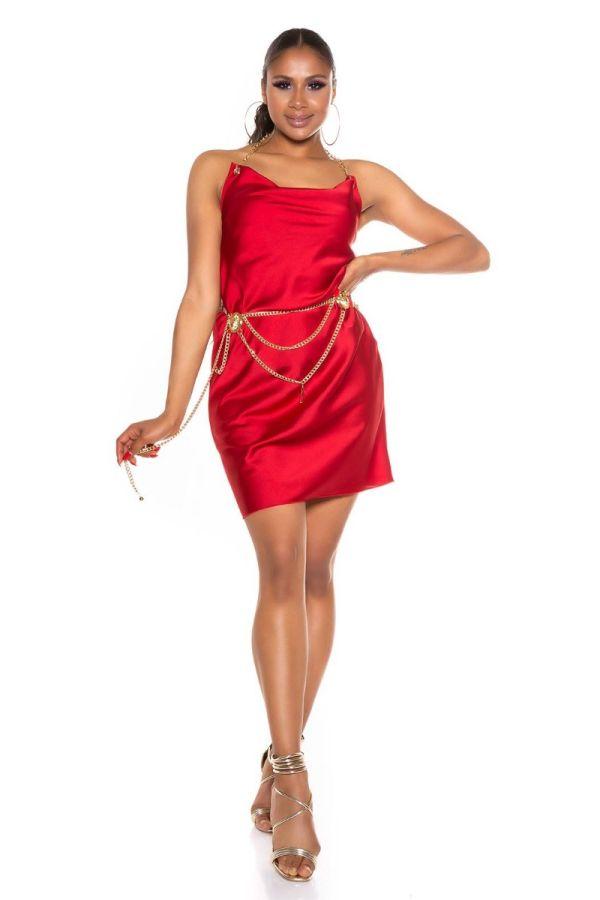 Dress Evening Golden Chain Red ISDK285102